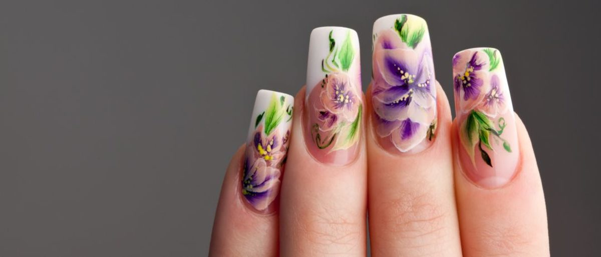 Aquarelle Nail Art Watercolor-Painting Frühlingslook